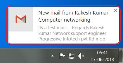 Notification de nouvel email dans Gmail